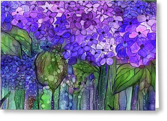 Greeting Card featuring the mixed media Hydrangea Bloomies 4 - Purple by Carol Cavalaris
