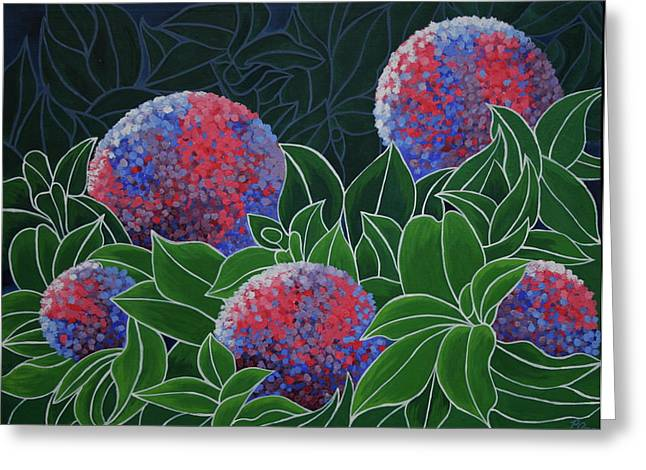 Greeting Card featuring the painting Hydrangea Grandiflora by Paul Amaranto