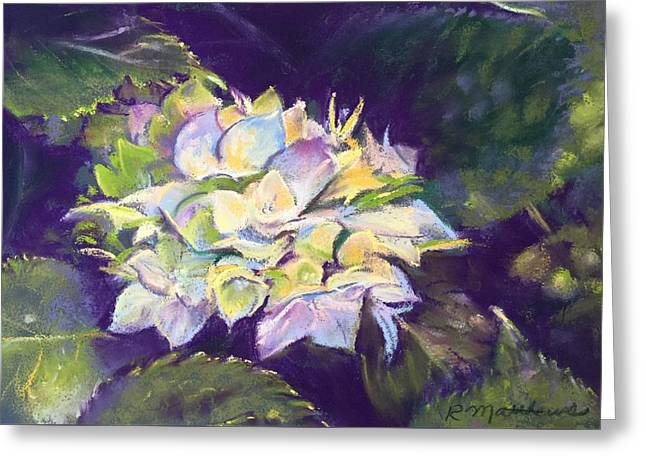Greeting Card featuring the pastel Hydrangea by Rebecca Matthews