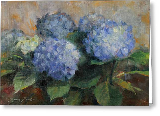 Hydrangea Study Greeting Card by Anna Rose Bain