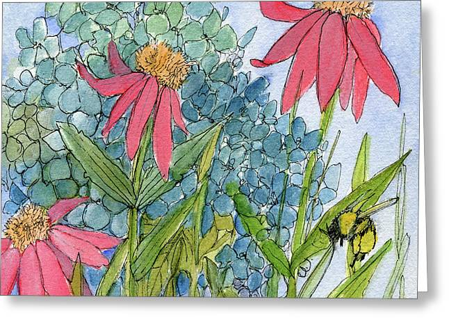 Hydrangea With Bee Greeting Card