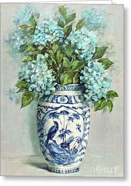 Hydrangeas In A Blue And White Vase Greeting Card by Gail McCormack