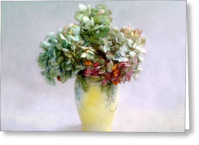 Hydrangeas In Autumn Still Life Greeting Card by Louise Kumpf
