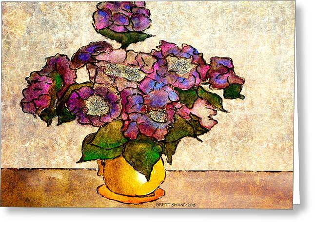 Hydrangeas In Yellow Jug Greeting Card