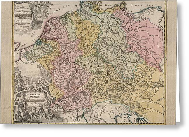 hydrographia germania the rivers of germany antique geographical map historic map greeting card