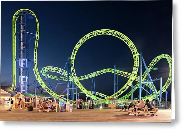 Hydrus Rollercoaster, Seaside Heightscasino Pier O Greeting Card