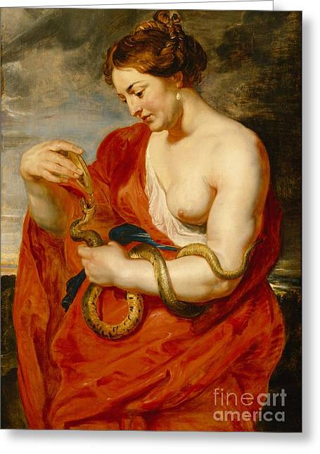 1640 Greeting Cards - Hygeia - Goddess of Health Greeting Card by Peter Paul Rubens