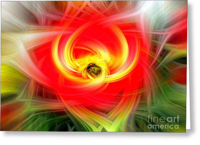 Hypnotic Red And Yellow Abstract Greeting Card