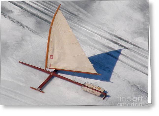 Greeting Card featuring the photograph I-001 Iceboat - Wood Antique by Bill Lang