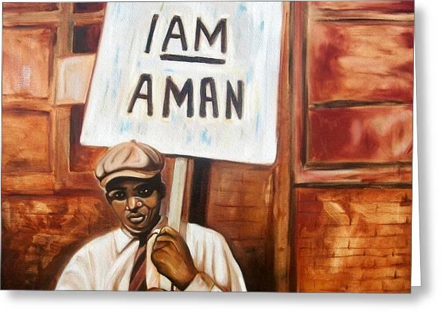 I Am A Man Greeting Card by Emery Franklin