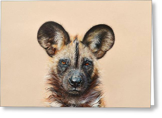 I Am A Wild Thing - African Painted Dog Greeting Card by Elena Kolotusha