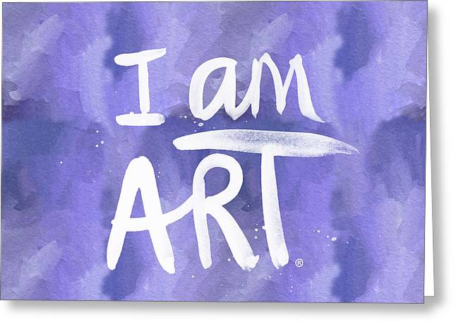 I Am Art Painted Blue And White- By Linda Woods Greeting Card by Linda Woods