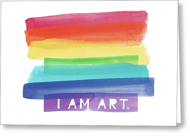I Am Art Rainbow Stripe- Art By Linda Woods Greeting Card