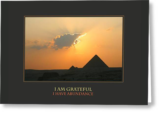I Am Grateful I Have Abundance Greeting Card by Donna Corless