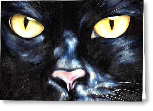 Close Up Paintings Greeting Cards - I am Night Greeting Card by Hiroko Sakai