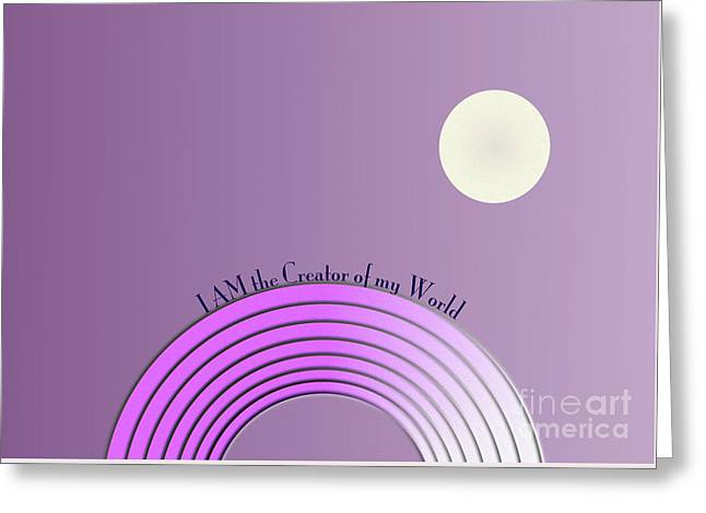 I Am The Creator Of My World Greeting Card by Beverley Brown