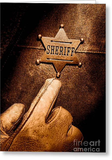 I Am The Law - Sepia Greeting Card by Olivier Le Queinec