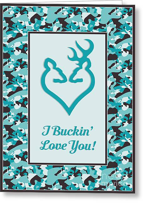 Greeting Card featuring the digital art I Buckin' Love You by JH Designs