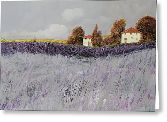 Cypress Greeting Cards - I Campi Di Lavanda Greeting Card by Guido Borelli