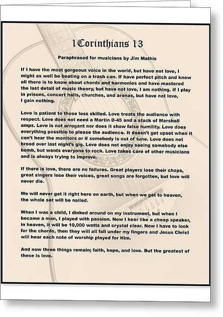 I Corinthians 13 Paraphrase Greeting Card