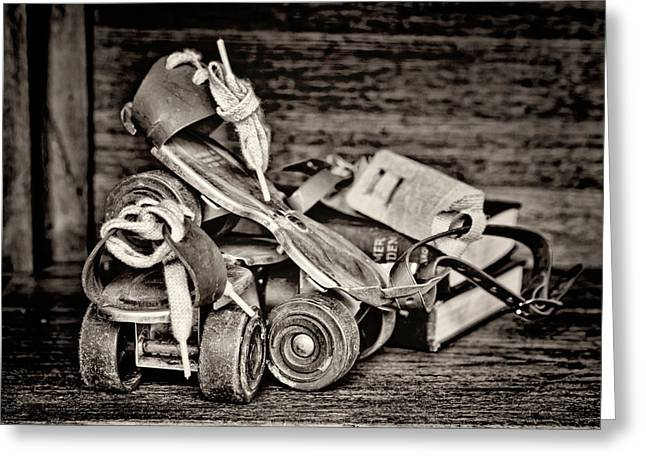 I Got A Brand New Pair Of Roller Skates Bw Greeting Card by Heather Applegate