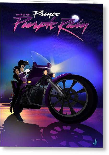 Greeting Card featuring the digital art I Grew Up With Purplerain by Nelson dedos Garcia