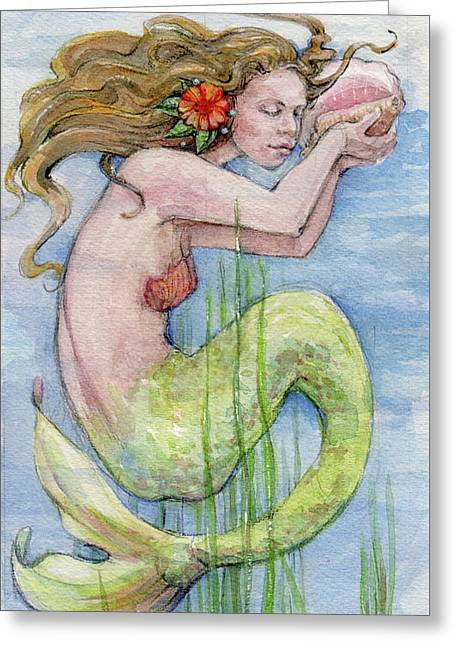 Greeting Card featuring the painting Mermaid by Lora Serra