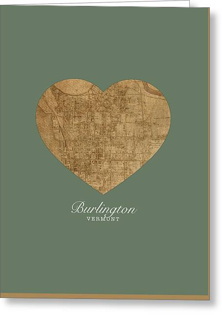 I Heart Burlington Vermont Vintage City Street Map Love Americana Series No 047 Greeting Card
