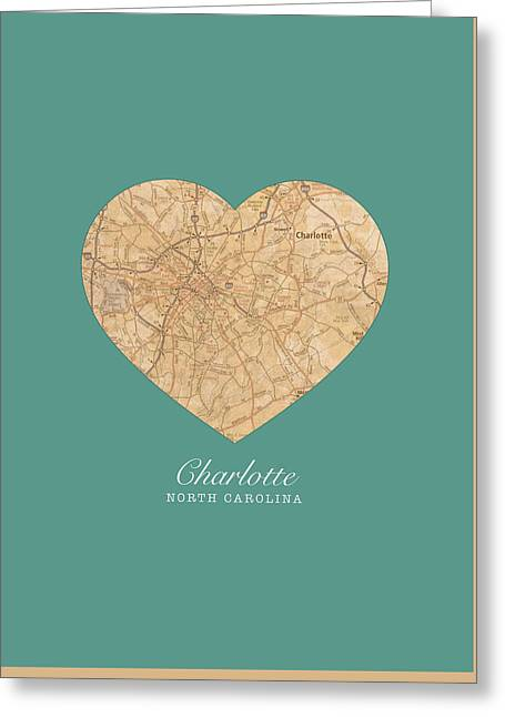 I Heart Charlotte North Carolina Vintage City Street Map Americana Series No 008 Greeting Card by Design Turnpike