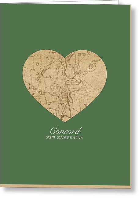I Heart Concord New Hampshire Vintage City Street Map Love Americana Series No 046 Greeting Card
