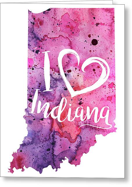 I Heart Indiana Watercolor Map - With Calligraphic Hand Lettering Greeting Card by Andrea Hill