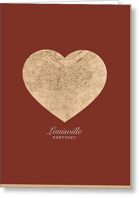 I Heart Louisville Kentucky Vintage City Street Map Americana Series No 007 Greeting Card