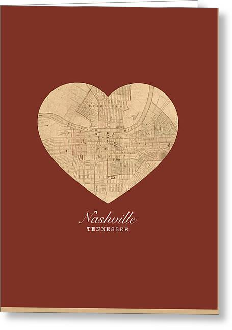 I Heart Nashville Tennessee Vintage City Street Map Americana Series No 010 Greeting Card by Design Turnpike