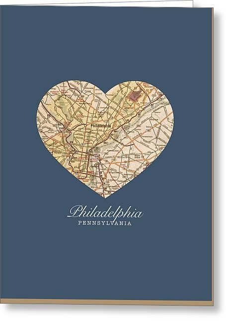 I Heart Philadelphia Pennsylvania Vintage City Street Map Americana Series No 012 Greeting Card by Design Turnpike
