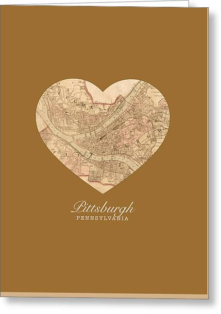 I Heart Pittsburgh Pennsylvania Vintage City Street Map Americana Series No 009 Greeting Card by Design Turnpike