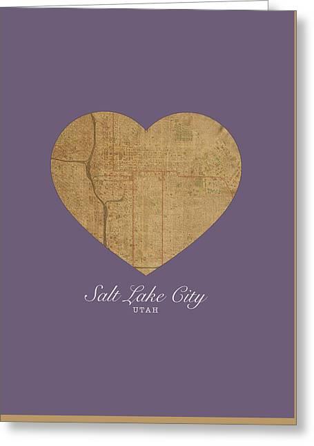 I Heart Salt Lake City Utah Vintage City Street Map Love Americana Series No 042 Greeting Card