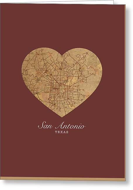 I Heart San Antonio Texas Vintage City Street Map Love Americana Series No 029 Greeting Card