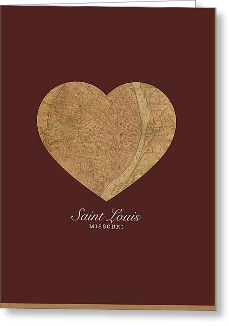 I Heart St Louis Vintage City Street Map Americana Series No 014 Greeting Card by Design Turnpike