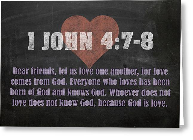 I John 4 7-8 Inspirational Quote Bible Verses On Chalkboard Art Greeting Card by Design Turnpike