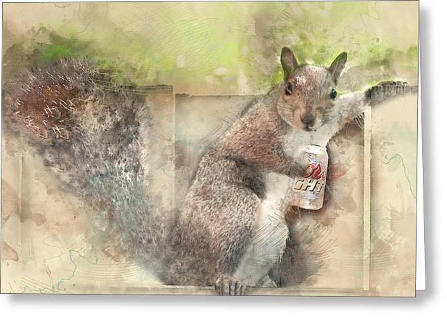 I Like My Beer Light - Squirrel With Beer Digital Watercolor Greeting Card by Rayanda Arts
