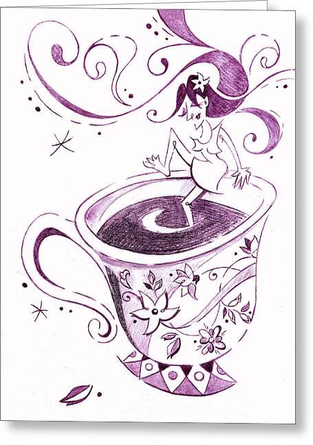 I Love Coffee Illustration - Arte Caffe Greeting Card