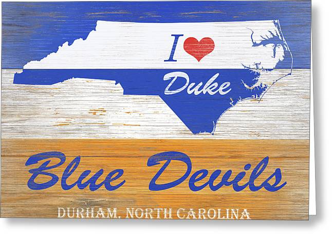 I Love Duke Blue Devils Greeting Card by Stan Coffman