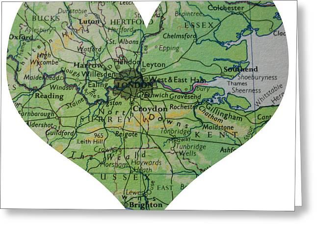 I Love London Heart Map Greeting Card