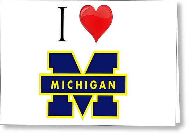 I Love Michigan Greeting Card by Pat Cook