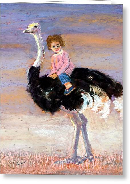 Child Pastels Greeting Cards - I Love My Very Own Ostrich Greeting Card by Cheryl Whitehall