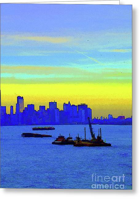 I Love New York Sunset Digital Painting Greeting Card