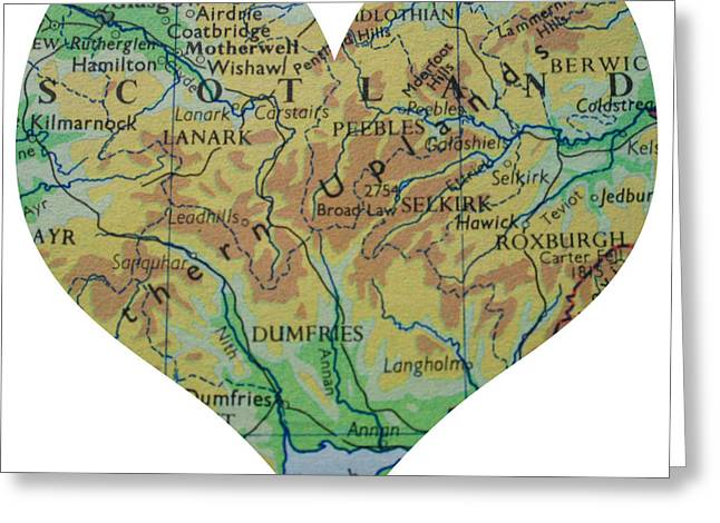 I Love Scotland Heart Map Greeting Card by Georgia Fowler
