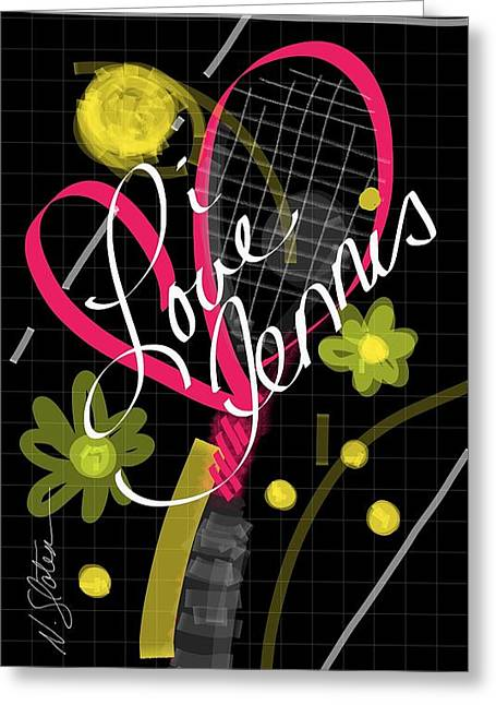 i Love Tennis Greeting Card by Nicole Slater