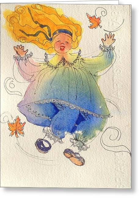 I Love The Wind Greeting Card by Marilyn Jacobson
