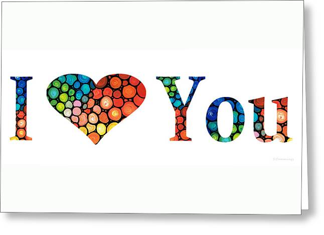 I Love You 14 - Heart Hearts Romantic Art Greeting Card